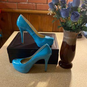 SHOE DAZZLE turquoise peep toe pump heels size 10
